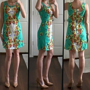 Green yellow orange red floral cage front dress